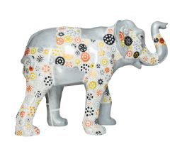 Silverella Metal panelled elephant, showing inner cog workings H1600mm x L2150mmx W800mm, weight