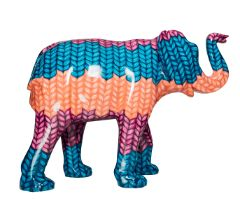 Woolyphant Elephant painted to look like it's made of knitted wool H1600mm x L2150mmx W800mm,