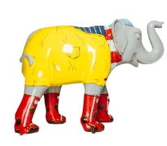 Muddy Walks An elephant wearing a yellow mac and red wellies H1600mm x L2150mmx W800mm, weight