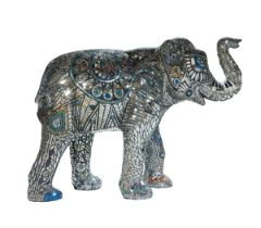 We are the Music Makers A mosaic elephant with mirrored tiles, delicately cut to create intricate