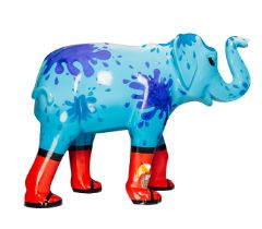Wellyphant A blue elephant, wearing red wellies, with water splashes on H1600mm x L2150mmx