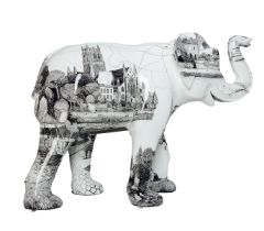 Inky the Elephant A black and white elephant, with Worcester scenes intricately hand drawn in pen