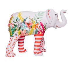 An Elephant Never Forgets A pink elephant with brightly coloured flowers and bees, with spotted