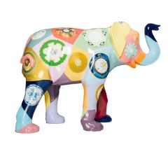 Porcelain Elephant Covered in plates inspired by the designs featured within the collections of