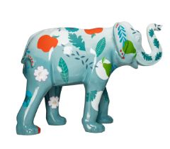 Memories of Home Turquoise coloured elephant, decorated with leaves, flowers and fruit H1600mm x