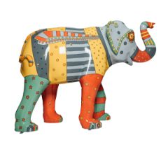 Dare to Bee Different A brightly coloured and patterned bee elephant H1600mm x L2150mmx W800mm,