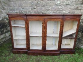 A Victorian burr walnut break front glazed cabinet, with adjustable shelves, width 72ins