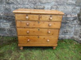 A pine chest of drawers, comprising two short drawers over three long, width 39ins x depth 17ins x
