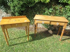Three pine side tables, the one painted with broken leg, together with a pine washstand, width 37ins