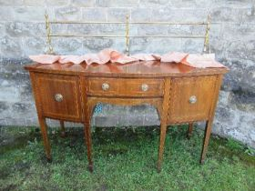 A Georgian design bow front mahogany sideboard, with cross banded decoration, width 60ins x depth
