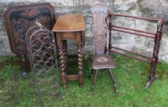 A carved Oriental decorated tilt top table, together with a gateleg table, carved milking chair,