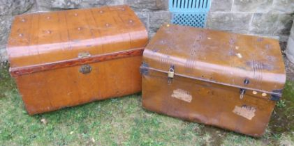 Two tin trunks, 27.5ins x 18ins x 17ins