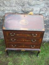 A mahogany bureau, with painted decoration, the fall flap having panel of neoclassical figures,