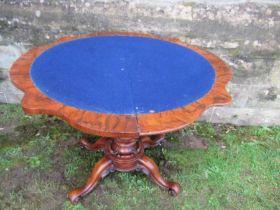 A burr walnut card table, width 36ins