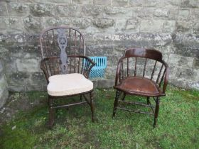 A Windsor chair, splat damaged and restored, split to back stretcher, together with a tub chair