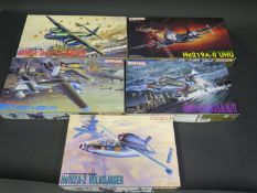 Five Dragon WWII German War Plane Kits 1/72 Scale. 5001, 5002, 5003, 5004, 5005. Appear unmade,