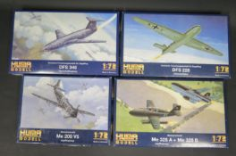 Four Huma Modell WWII German War Plane Kits 1/72 Scale. 4002, 3503, 3505, 3504. Appear unmade,