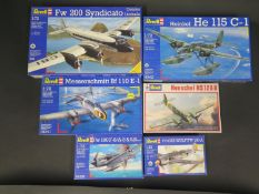 Six Revell WWII German War Plane etc. Kits 1/72 Scale. 4123, 04135, 4169, 04341, 4342, 4216.