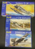 Three Revell German Junkers Plane Kits 1/72 Scale. 4215, 04213, 4299. Appear unmade, complete and