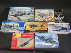 Seven Various WWII German War Plane Kits 1/72 Scale. Brands Include Fujimi, Minicraft, Warload,