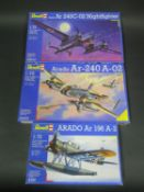 Three Revell Araddo WWII German War Plane Kits 1/72 Scale. 4197, 04331, 04310. Appear unmade,