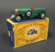 A Matchbox Models of Yesteryear Y5-1-7 Error 1929 Le Mans 4 1/2 Litre Bentley with British Racing