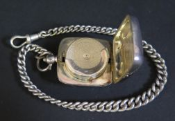 A George V Silver Sovereign Case, Birmingham 1914, Boots Pure Drug Company and on silver chain, 33.
