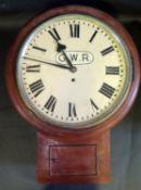 A G.W.R. Drop Pendulum Wall Clock in original teak case with 'G.W.R. 2474' plaque, single fusee