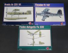 Three Pavla (Made in Czech Republic) German Planes and Helicopter Kits 1/72 Scale. Fieseler Fi