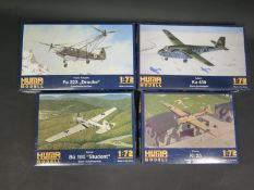 Four Huma Modell WWII German War Plane Kits 1/72 Scale. 3004, 5000, 3008, 4501. Appear unmade,