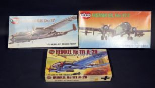 Three Airfix WWII German War Plane Kits 1/72 Scale. 04004-4, 04014-1, 05009-2. Appear unmade,
