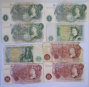 Two £1 Notes HW68 639243 & 44, three others an 3 ten shilling notes