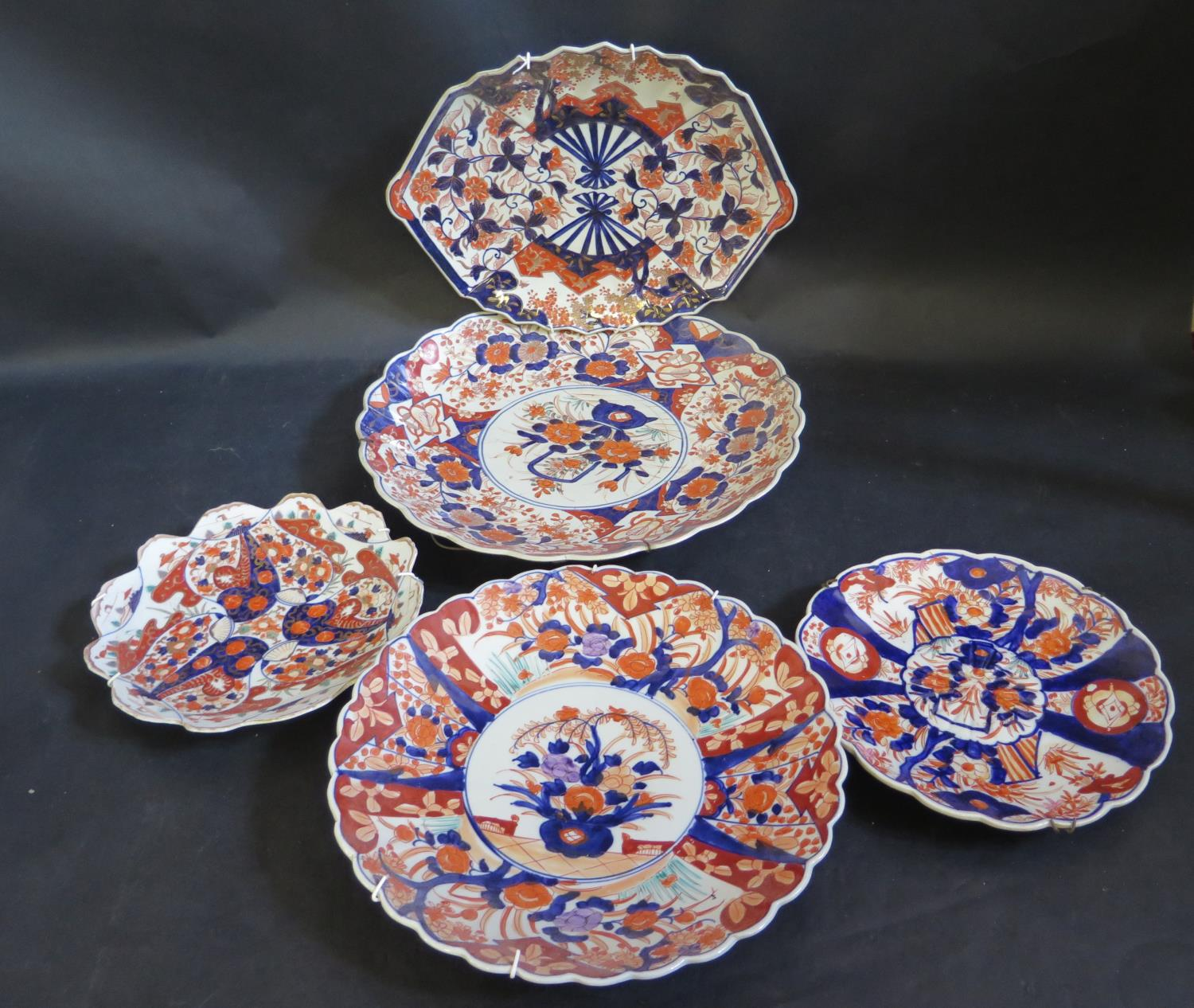 A Collection of Japanese Imari including lobed chargers, largest 38cm diam.. Largest damaged