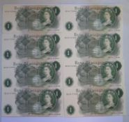 A Collection of Eight Series C Consecutive £1 Notes: HZ16 777452-59, uncirculated