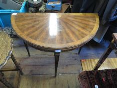 A Reproduction Sunburst Veneered Fold Over Card table and a mahogany pedestal wine table