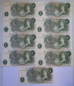 A Collection of Nine Series C Consecutive £1 Notes: HZ16 777266-74, uncirculated