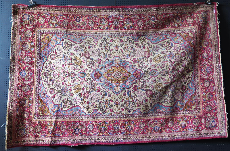 A Persian Qum (Ghom) Silk Garden Rug, c. 190x125cm