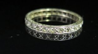 A 9ct Wite Gold and White Stone Set Full Eternity Ring, size P, 2g