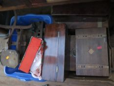 A Selection of 19th Century Boxes, set of old kitchen scales etc.