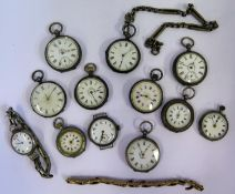 A Selection of Ten Ladies Silver Fob Watches, two silver wristwatches and gold plated bracelet