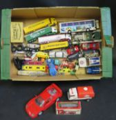 A Box of Toy Cars, Buses, Trucks etc. Including Corgi, Franklin Mint Rolls Royce, Majorette, Lone