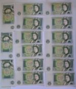 A Collection of Eight Series D Consecutive £1 Notes: 21W 014977-84, collection of five CZ63 142695-