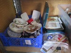 A Royal Worcester Nautical Teacup and Saucer, Spode menu tablet, other ornaments, shells etc.