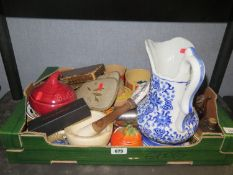 A Box of Oddments including blue and white jug, pestle and mortar, etc.