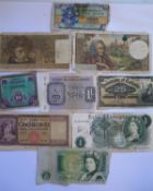 A Small Selection of Bank Notes including £1, British Military Authority One Shilling, Canada 1900