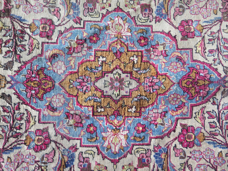 A Persian Qum (Ghom) Silk Garden Rug, c. 190x125cm - Image 6 of 6