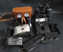 Kodak Instamatic 133, other cameras, Boots 10x50 binoculars and one other