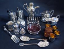A Selection of Silver Plate including a pair of coffee pots, pepper mill, leather cased set of