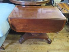 A 19th century Mahogany and Crossbanded Pembroke Table on turned pedestal with reeded scrolling