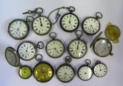 Twelve Silver Pocket /Fob Watches and one other. All A/F